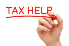 Tax Help Red Marker Stock Photos