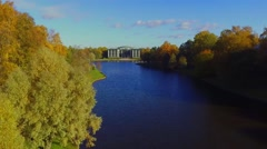 Aerial view of the lake in the autumn Park in Saint-Petersburg, Russia Stock Footage