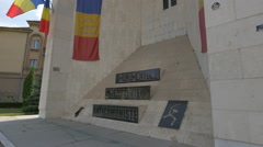 View of the Anti-Communist Resistance Monument in Cluj-Napoca Stock Footage