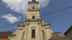 Great view of the Franciscan Church, Cluj-Napoca Stock Footage