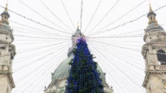 Christmas Tree in the Central Christmas Market In Budapest - stock footage
