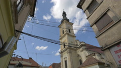 Franciscan Church in Museum Square, Cluj-Napoca Stock Footage