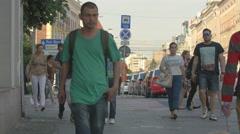 View of people walking on Heroes Boulevard in Cluj-Napoca Stock Footage