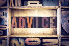 Advice Concept Letterpress Type Stock Photos
