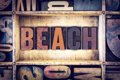 Beach Concept Letterpress Type Stock Photos