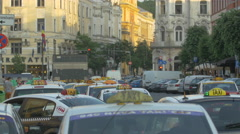 Taxi cabs in Union Square, Cluj-Napoca Stock Footage