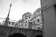 old houses in riomaggiore - stock photo