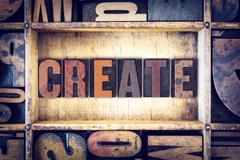 Create Concept Letterpress Type Stock Photos