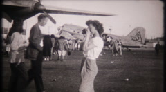 Open house at military aircraft at air show -3096 vintage film home movie Stock Footage