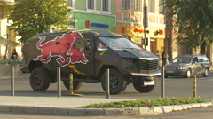 Stock Video Footage of View of a Red Bull suv parked on Heroes Boulevard in  Cluj-Napoca