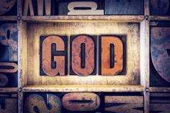 God Concept Letterpress Type - stock photo