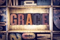 Grace Concept Letterpress Type Stock Photos