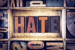 Hate Concept Letterpress Type - stock photo