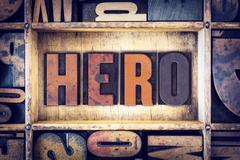 Hero Concept Letterpress Type - stock photo