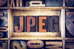 JPEG Concept Letterpress Type Stock Photos