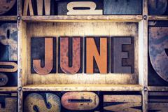 June Concept Letterpress Type Stock Photos