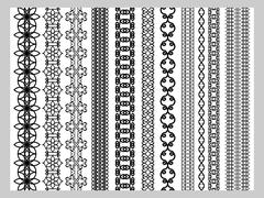 Stock Illustration of Indian Henna Border decoration elements patterns in black and white colors.