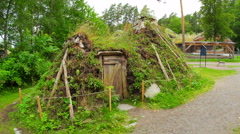 First houses of norwagian tribes from prehistorical times, norway, 4k Stock Footage