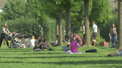 Leisure time in Iulius Park in Cluj-Napoca Stock Footage