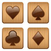 Casino wooden square icon card suits - stock illustration