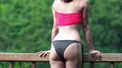 Sexy, happy woman admire view and enjoying day on terrace, super slow motion 120 Stock Footage
