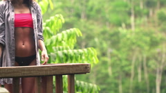 Sexy, happy woman on terrace admire view and enjoying day - stock footage