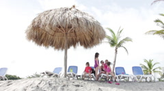 Thatched Beach Umbrella Stock Footage