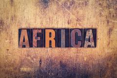 Africa Concept Wooden Letterpress Type - stock photo