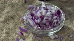 Diced Red Onions (seamless loopable, 4K) Stock Footage