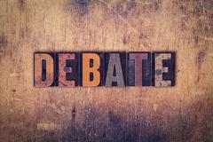 Debate Concept Wooden Letterpress Type Stock Photos