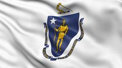 US state flag of Massachusetts - stock photo