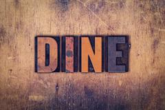 Stock Photo of Dine Concept Wooden Letterpress Type