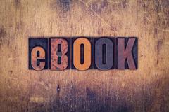 EBook Concept Wooden Letterpress Type Stock Photos