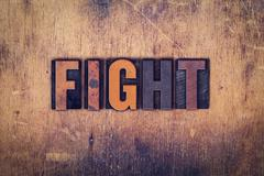 Fight Concept Wooden Letterpress Type - stock photo