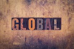 Global Concept Wooden Letterpress Type Stock Photos