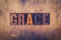 Grace Concept Wooden Letterpress Type Stock Photos
