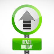 beach holiday road sign illustration - stock illustration
