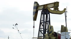 Oil Pump jacks Working Stock Footage