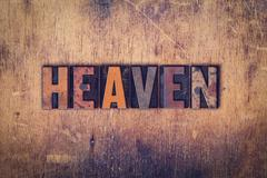 Heaven Concept Wooden Letterpress Type Stock Photos