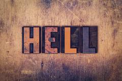 Hell Concept Wooden Letterpress Type Stock Photos