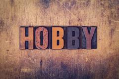 Hobby Concept Wooden Letterpress Type Stock Photos