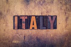 Italy Concept Wooden Letterpress Type - stock photo