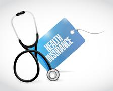 stethoscope and health insurance tag - stock illustration