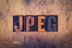 JPEG Concept Wooden Letterpress Type - stock photo