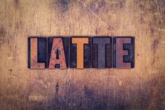 Latte Concept Wooden Letterpress Type Stock Photos