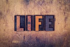 Life Concept Wooden Letterpress Type - stock photo