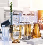green plant in chemical laboratory science and technology concept background - stock illustration