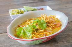 Khao Soi Recipe, Thai Northern Style Curried Noodle Soup with Chicken Stock Photos