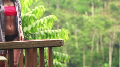 Pensive woman admire view on terrace, super slow motion  Stock Footage