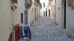 Small street in Gallipoli, Italy Stock Footage